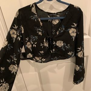 Flare Sleeve Cropped Blouse with Tie Front